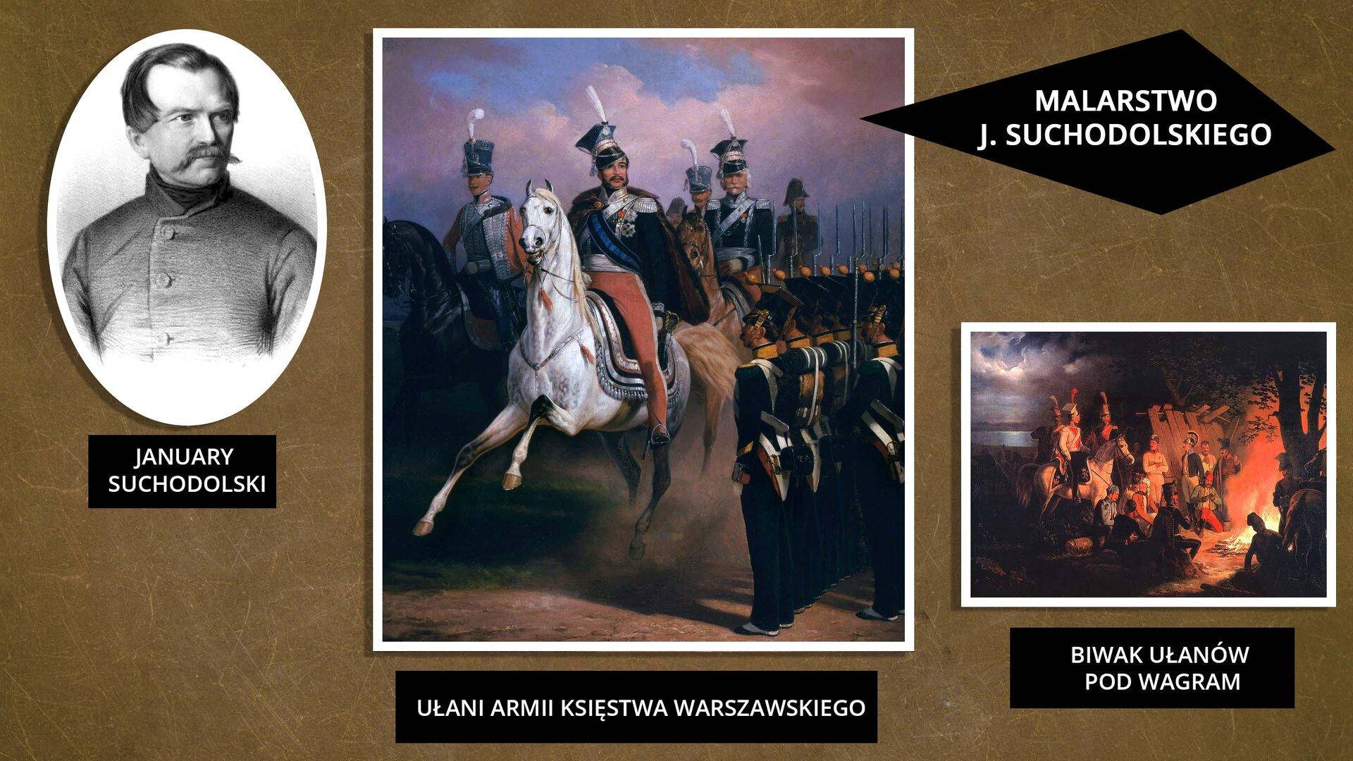 """Grafika przedstawia trzy zdjęcia opatrzone tytułem: """"MALARSTWO JANUAREGO SUCHODOLSKIEGO"""". Pierwsze zdjęcie od lewej jest owalne. Przedstawia mężczyznę zzaczesanymi za ucho włosami idługimi wąsami. Fotografia jest czarno-biała. Pod zdjęciem znajduje się napis – January Suchodolski. Zdjęcie drugie przedstawia żołnierzy na koniach wgalowych strojach. Wcentrum zdjęcia znajduje się żołnierz na białym koniu, wczerwonych spodniach zlampasami, zjasnoniebieską szarfą na piersi. Jest ubrany wczapkę rogatywkę zbiałym pióropuszem. Pod zdjęciem znajduje się napis: """"UŁANI ARMII KSIĘSTWA WARSZAWSKIEGO"""". Trzecie zdjęcie wprawym dolnym rogu przedstawia żołnierzy siedzących przy ognisku, aktórymi stoją konie. Pod zdjęciem znajduje się napis """"BIWAK UŁANÓW POD WAGRAM""""."""