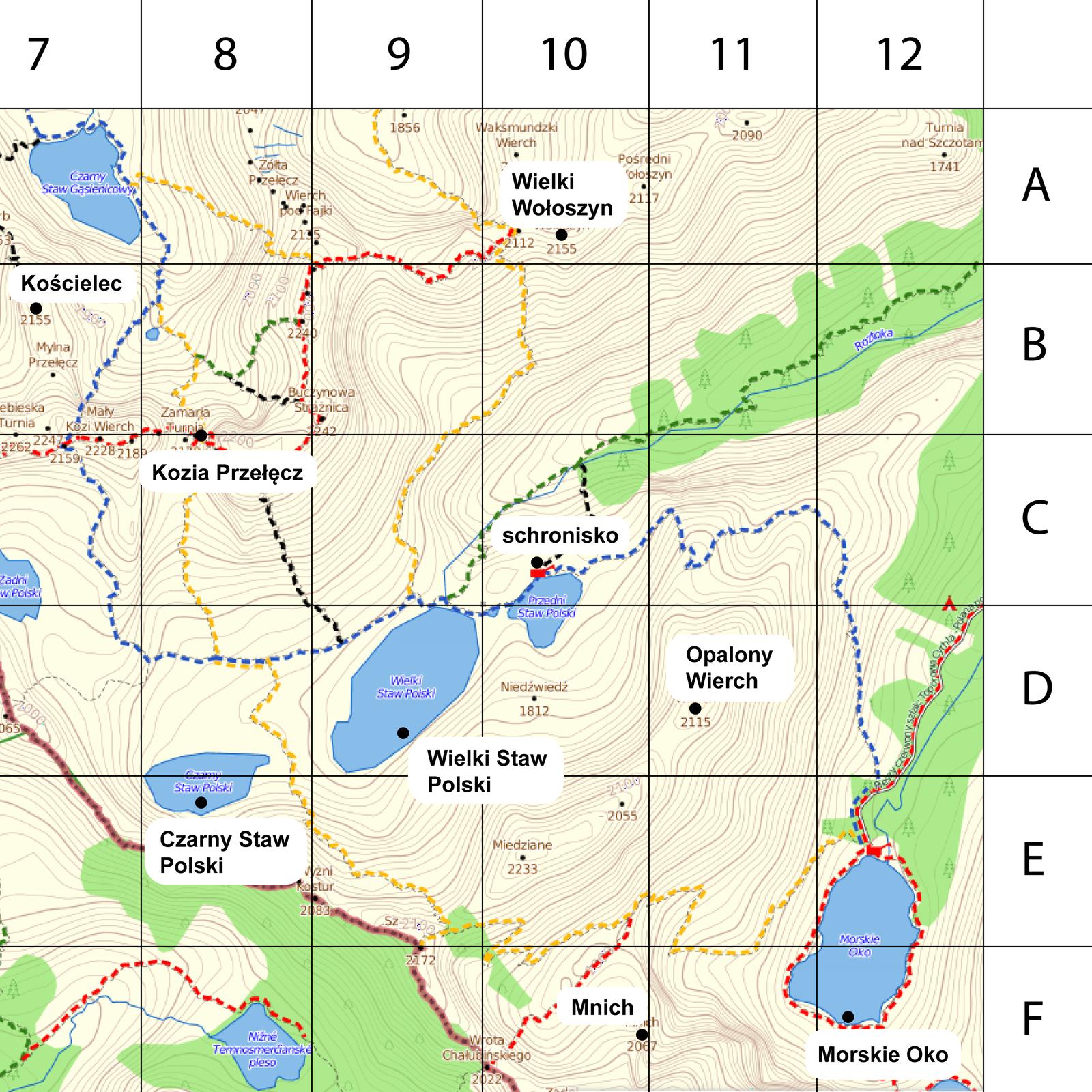 Animacja pokazuje fragment mapy Polski. Należy odczytać miejsce znajdujące się na trzech podanych współrzędnych geograficznych.