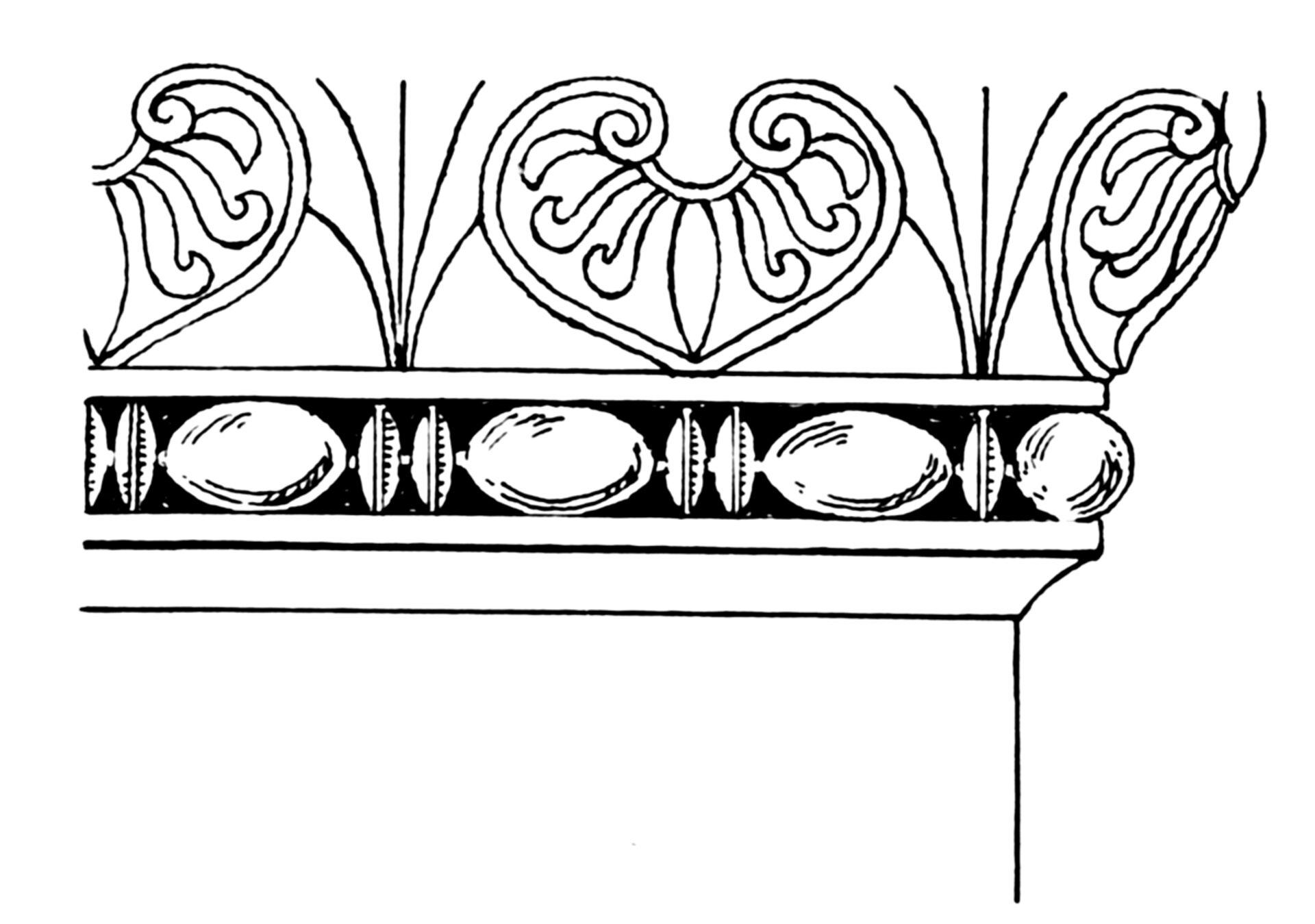 Ilustracja przedstawiająca ornament: astragal. Element dekoracyjny naszkicowany jest czarnym kolorem bez wypełenień. Ornament składa się zdwóch części. Górna część przedstawia ornament wkształcie serca. Dolna część to elementy kształtem przypominające cytrynę.