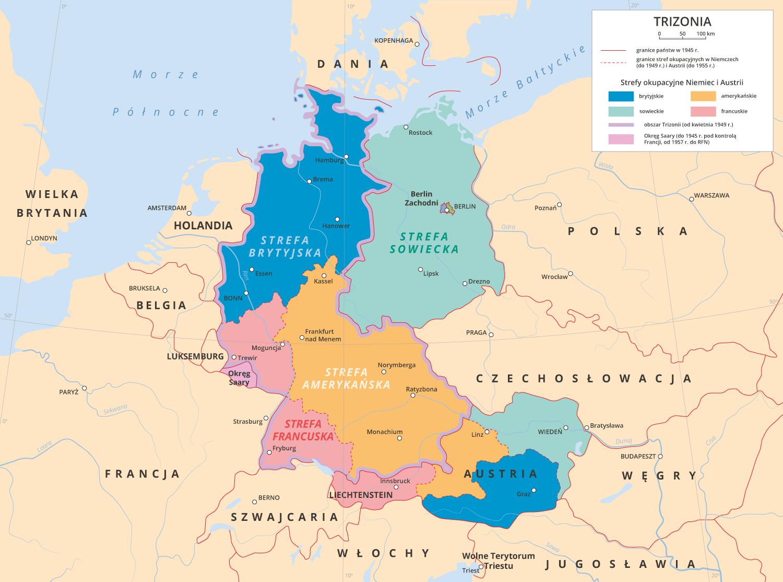 Trizonia powstała wwyniku przyłączenia do Bizonii francuskiej strefy okupacyjnej. Która część Niemiec – Trizonia czy strefa sowiecka – była bardziej zurbanizowana irozwinięta gospodarczo?