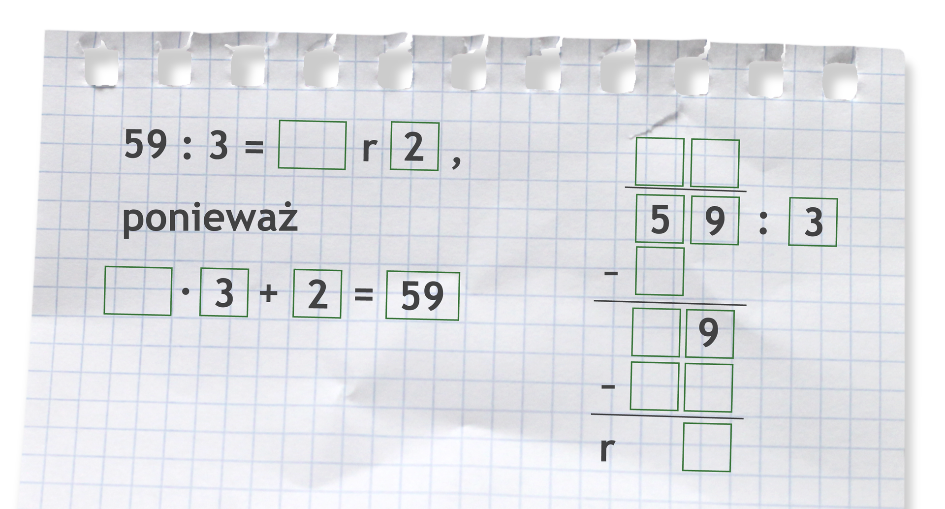Miejsce do wykonania dzielenia: 59 dzielone przez 3.