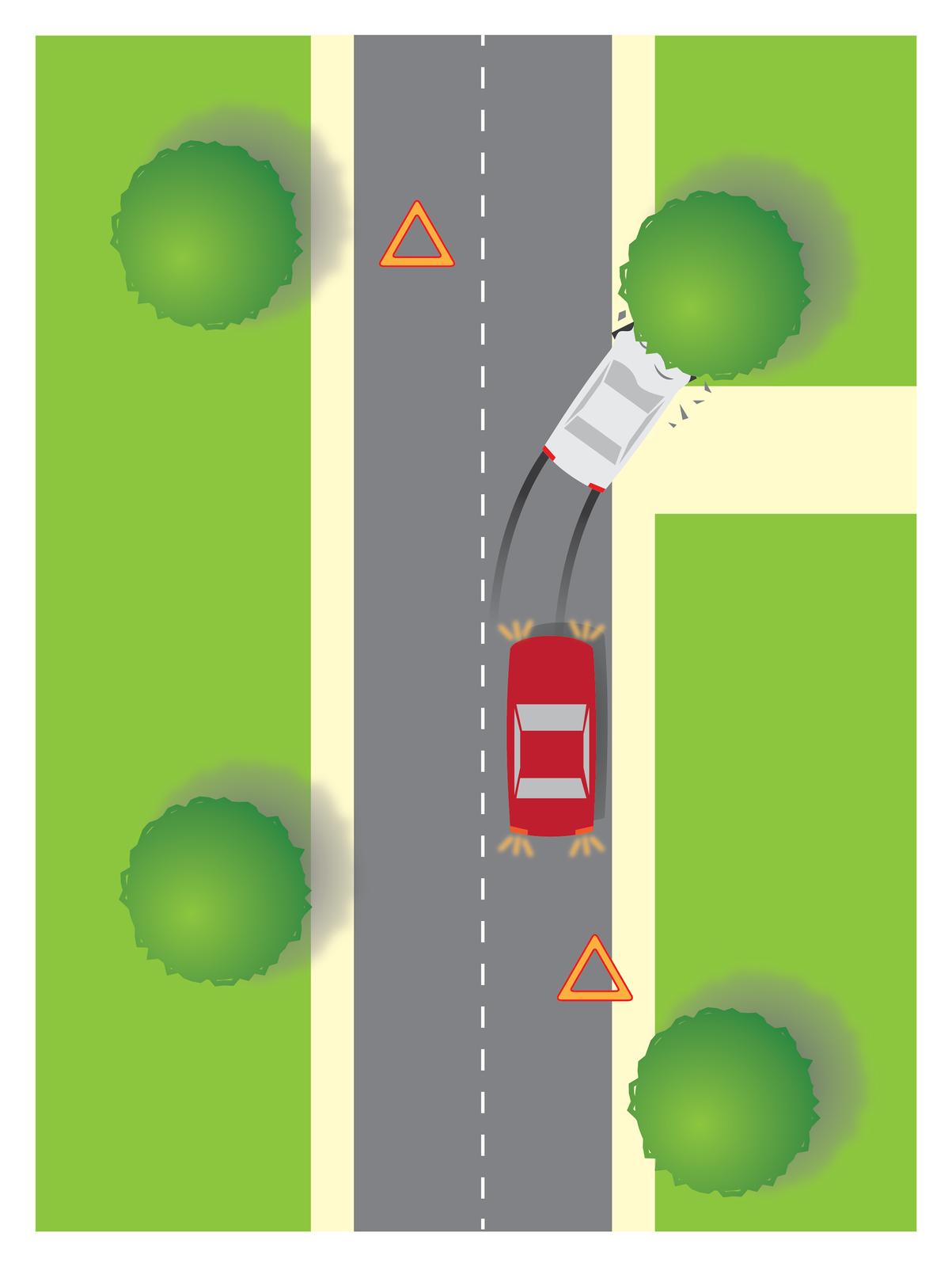 Galeria 1 składa się z4 ilustracji. Ilustracja podzielona na 3 równe pionowe pasy. Środkowy pas to dwupasmowa jezdnia. Wzdłuż jezdni przerywana linia. Po obu stronach jezdni pasy zieleni. Dzień. Na prawym pasie zaparkowany czerwony samochód osobowy. Samochód maską skierowany wgórę ilustracji. Za tyłem samochodu, wdole ilustracji, rozłożony pomarańczowy trójkąt ostrzegawczy. Samochód ma włączone światła awaryjne. Przez maską samochodu dwa czarne ślady na jezdni, skręcające wprawo. Czarne ślady to droga hamowania białego samochodu. Biały samochód czołowo uderzył wprzydrożne drzewo. Na lewo, powyżej białego samochodu, rozłożony pomarańczowy trójkąt ostrzegawczy.