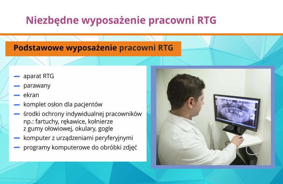 Ilustracja przedstawia niezbędne wyposażenie pracowni RTG.