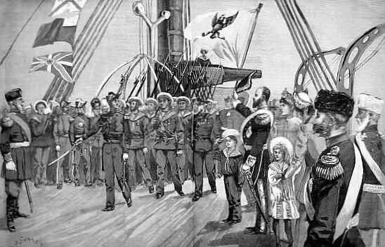 Wizyta francuskiej marynarki wKronsztadzie Źródło: Wizyta francuskiej marynarki wKronsztadzie, między 1891 a1897 , domena publiczna.