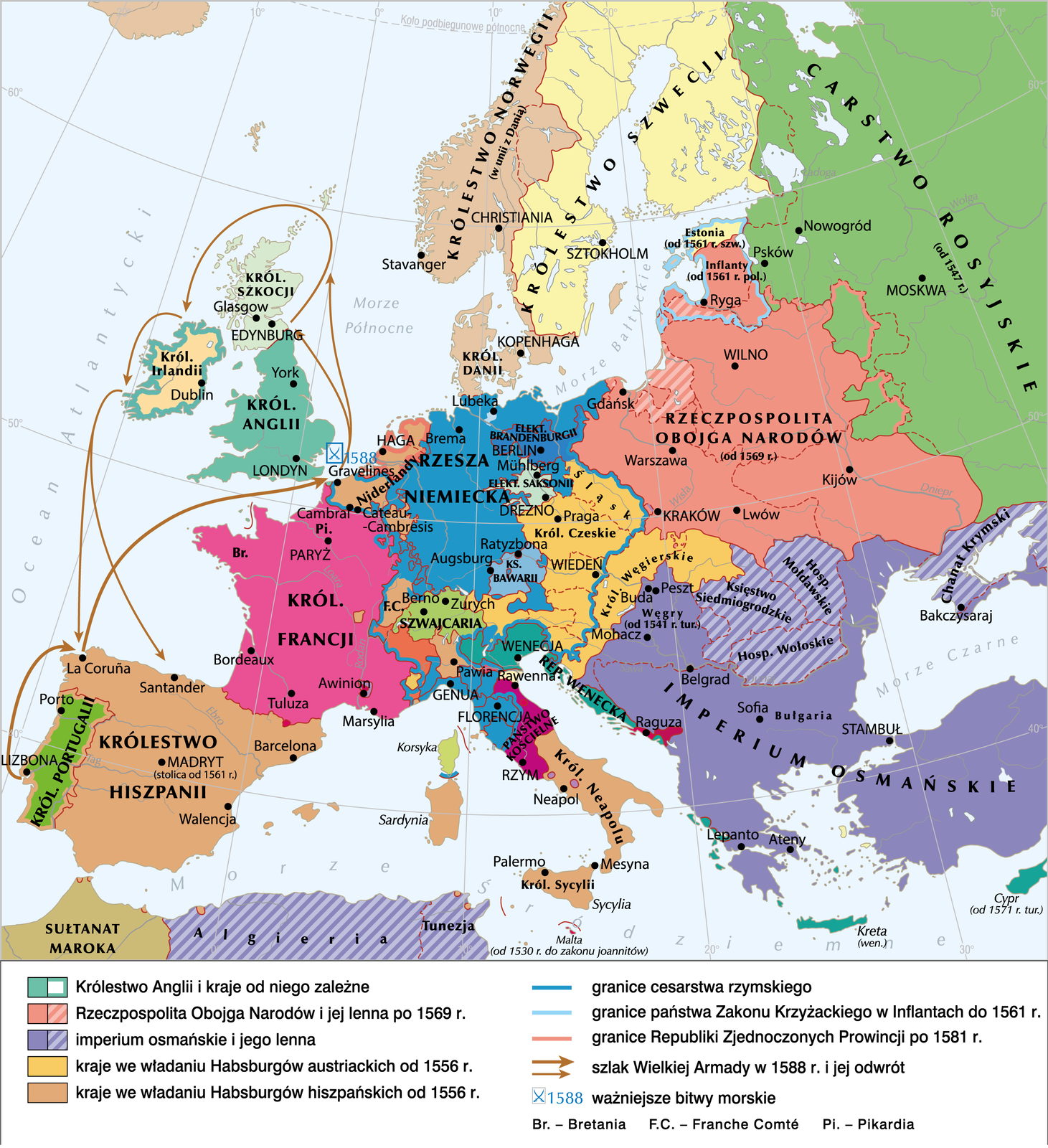Droga wielkiej armady w1588 r. Droga wielkiej armady w1588 r. Źródło: Krystian Chariza izespół, licencja: CC BY-SA 3.0.