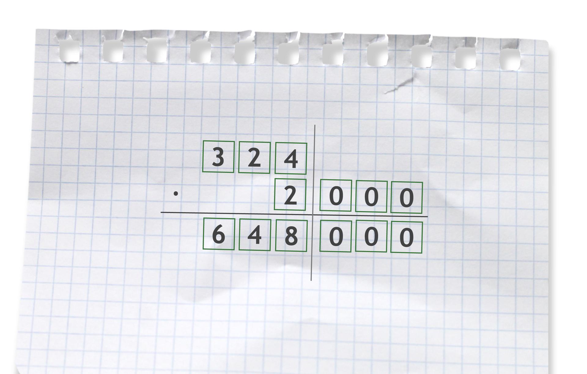 Przykład: 324 razy 2000 =648000. Rozwiązanie zadania podpunkt b.