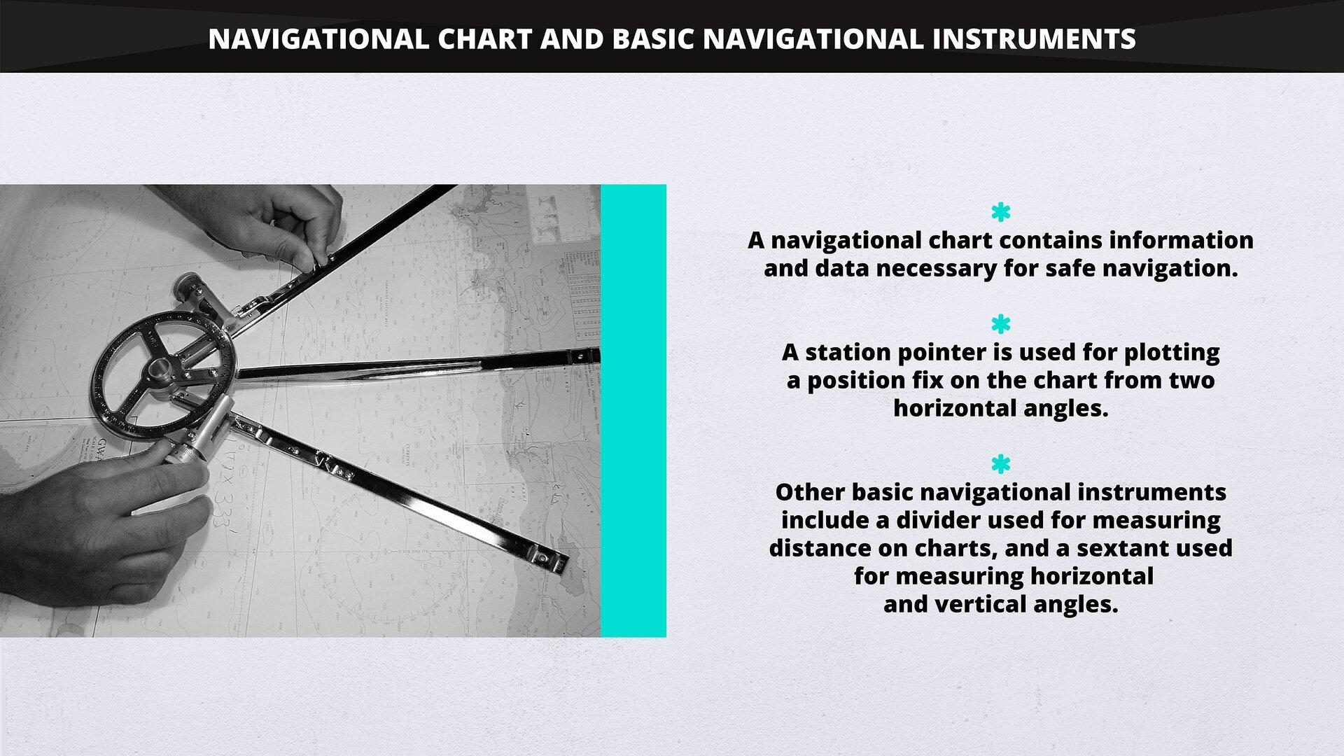 The image presents an example of anavigational chart and anavigational instrument called astation pointer. Materiał graficzny przedstawia przykładową mapę nawigacyjną oraz przyrząd nawigacyjny zwany protraktorem.