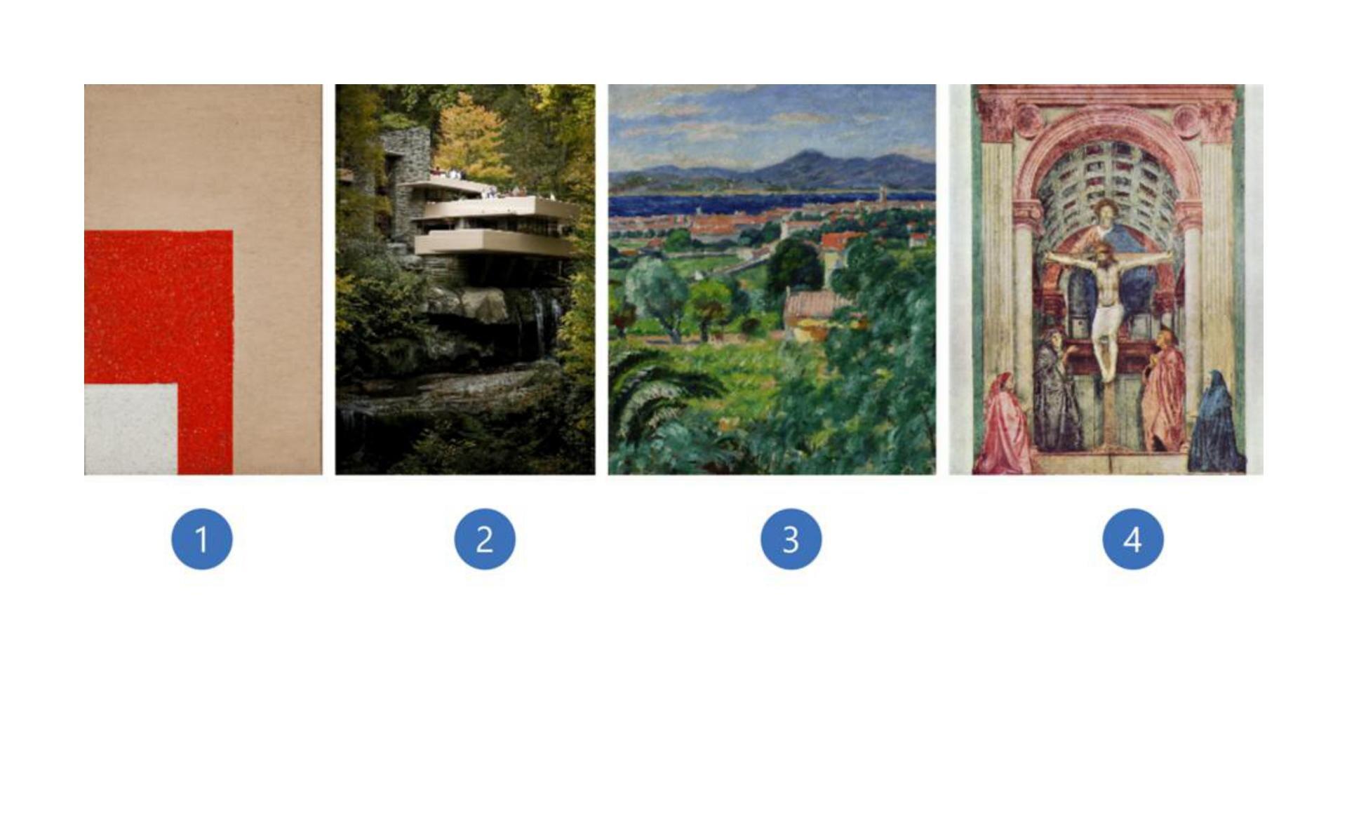 """Pierwsza ilustracja to obraz pt. """"Kompozycja architektoniczna 9c"""". Na obrazie wtle widzimy jasnobrązowy prostokąt. Wlewym dolnym rogu widzimy fragment czerwonego prostokąta. Natomiast na czerwonym prostokącie widzimy biały kwadrat. Druga ilustracja przedstawia dom nad wodospadem znajdujący się wBear Run wUSA. Budynek obrazuje rodzaj architektury organicznej. Część mieszkalna domu znajduje się nad wodospadem. Budynek składa się zdwóch części. Pierwsza wybudowana zszarego kamienia jest po lewej stronie. Po prawej stronie druga część skladająca się ztrzech kondygnacji. Przypomina trzy płyty ułożone jedna nad drugą przedzieloną linią okien. Płyty te stanowią również taras dla każdej kondygnacji. Dom oraz wodospad dookoła otoczone są zielenią - lasem, krzewami. Trzecia ilustracja przedstawia obraz pt. """"Pejzaż zSaint-Tropez"""". Na obrazie widzimy rozciągający się krajobraz francuskiego miasta Saint-Tropez. Znajdują się liczne drzewa oraz krzewy. Wtle widoczne są góry. Dzieło jest wykonane wperspektywie barwnej tj. malarskiej. Czwarta ilustracja to obraz """"Święta Trójca"""". Wcentralnym punkcie znajduje się ukrzyżowany Chrystus. Nad nim góruje postać Boga Ojca, apomiędzy nimi wpostaci gołębicy, Duch Święty. Po obu bokach krzyża stoi Maria iśw. Jan. Scena jest oddzielona wysokim progiem irzymskim łukiem triumfalnym. Głębie pomieszczenia akcentują dwie dodatkowe postacie klęczące przed bocznymi kolumnami."""