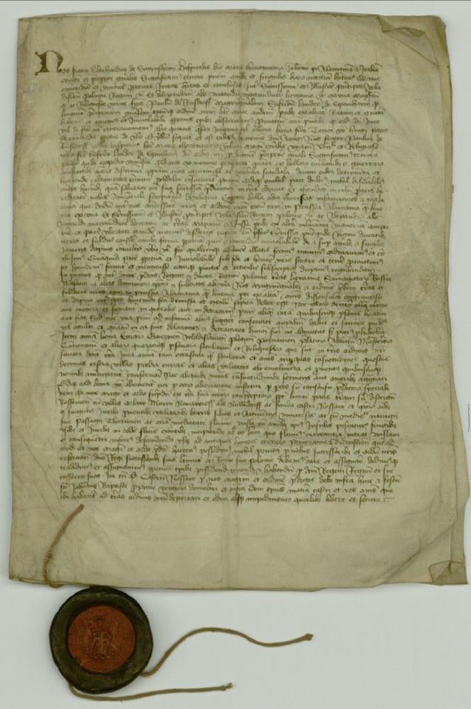 Potwierdzenie pokoju mełneńskiego (8 grudnia 1423 roku) Dokument potwierdzający postanowienia pokoju zawartego międzyKrólestwem Polski, Wielkim Księstwem Litewskim azakonem krzyżackimwMełnie 27 września 1423 roku. Źródło: Potwierdzenie pokoju mełneńskiego (8 grudnia 1423 roku), domena publiczna.