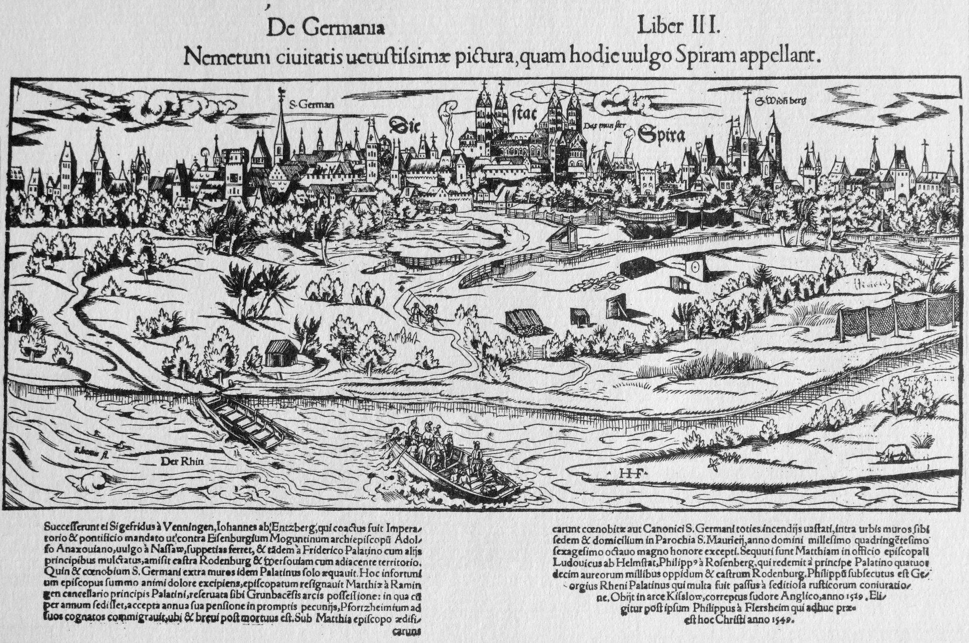 Sejm w1526 – jus reformandi – widok Spiry w1550 r. Sejm w1526 – jus reformandi – widok Spiry w1550 r. Źródło: Sebastian Münster, 1550, domena publiczna.