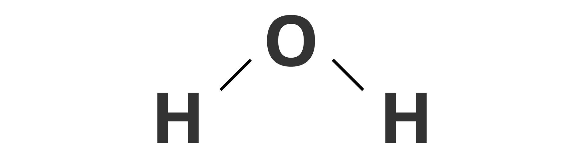 Ilustracja przedstawia wzór strukturalny wody. Pary elektronowe zapisano za pomocą kresek.