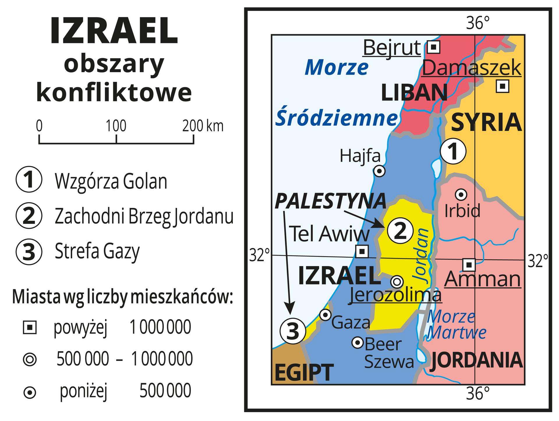 Ilustracja przedstawia obszary objęte konfliktami wrejonie Izraela. Państwa wyróżnione kolorami iopisane. Oznaczono iopisano miasta. Oznaczono cyframi konflikty wrejonie Wzgórza Golan, Zachodniego Brzegu Jordanu iStrefy Gazy. Mapa pokryta jest równoleżnikami ipołudnikami. Dookoła mapy wbiałej ramce opisano współrzędne geograficzne.