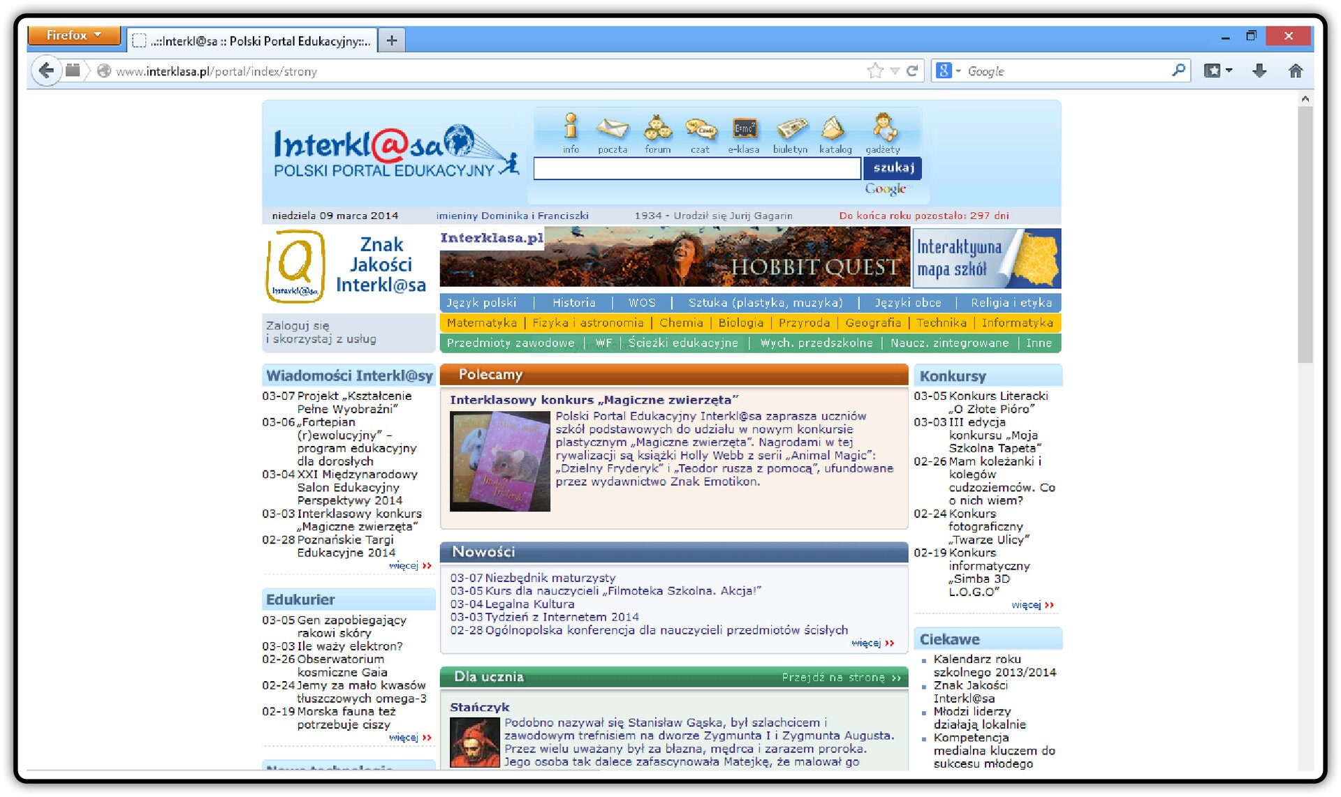 Zrzut okna strony http://www.interklasa.pl/