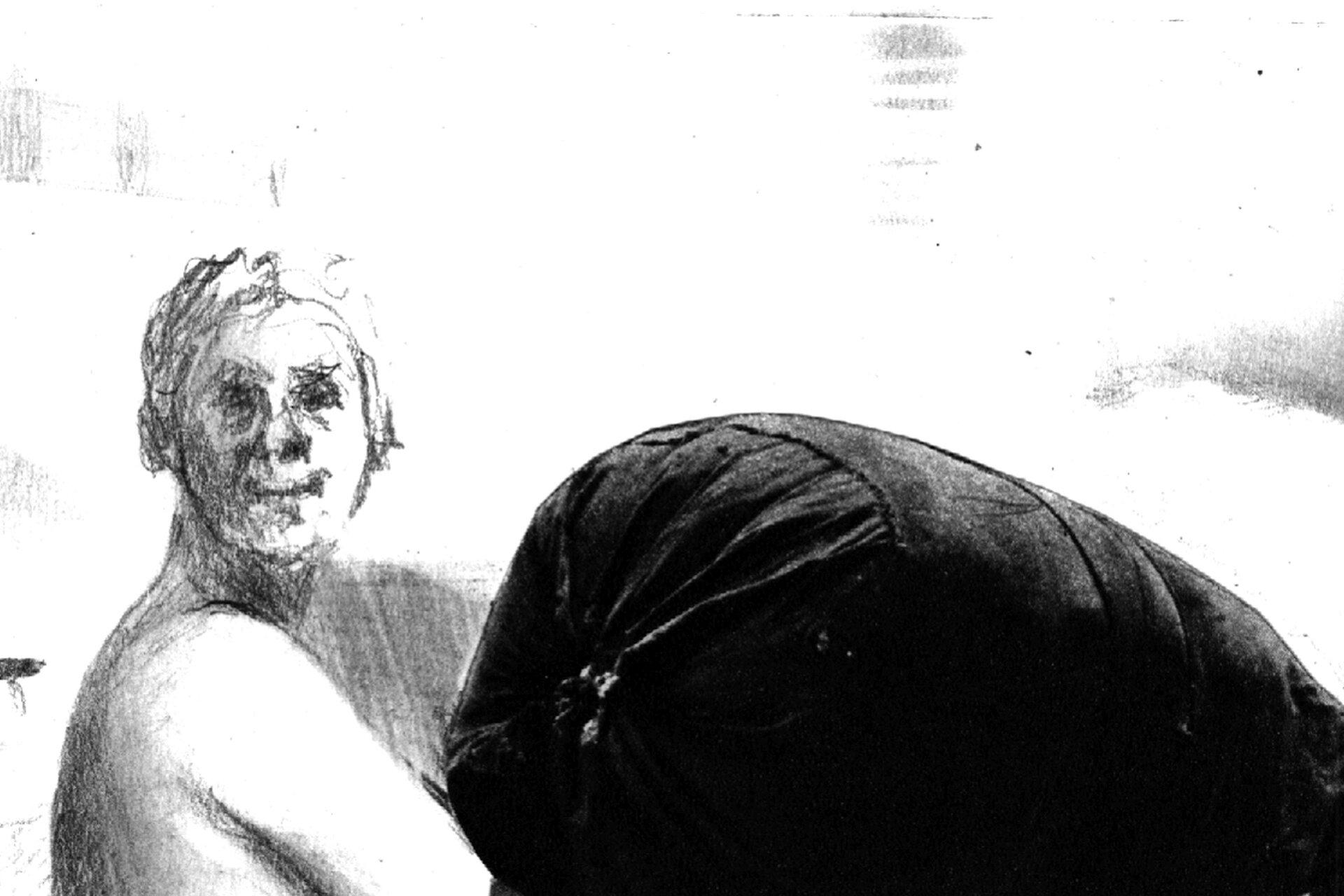 """Ilustracja przedstawiająca dzieło Jędrzeja Gołasia pt. """"Portret zbagażem"""". Ilustracja przedstawia człowieka dźwigającego bagaż."""