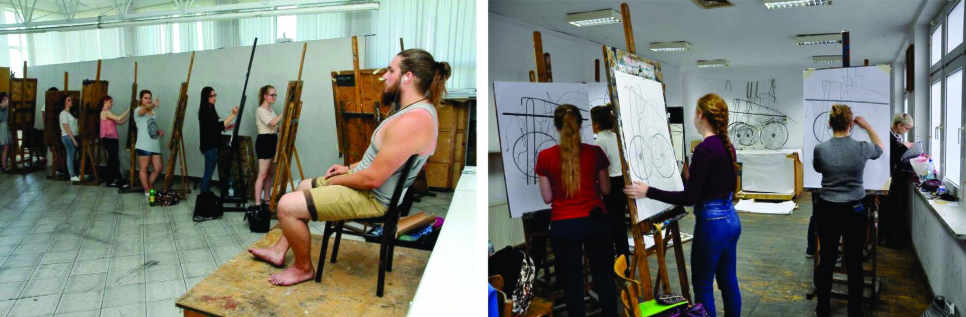 Ilustracja przedstawiająca studentów wtrakcie studiowania rysunku.