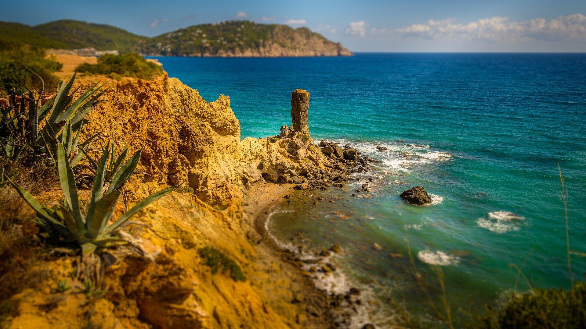 Na zdjęciu widzimy fragment śródziemnomorskiego wybrzeża. Linia brzegowa jest urozmaicona omywana lazurowym morzem. Zdjęcie zrobione zostało zwysokiego brzegu. Jest on porośnięty roślinnością, na pierwszym planie widać rosnące krzaki agawy. Na dalszym planie widać fragment zatoki iwysunięty wmorze cypel.