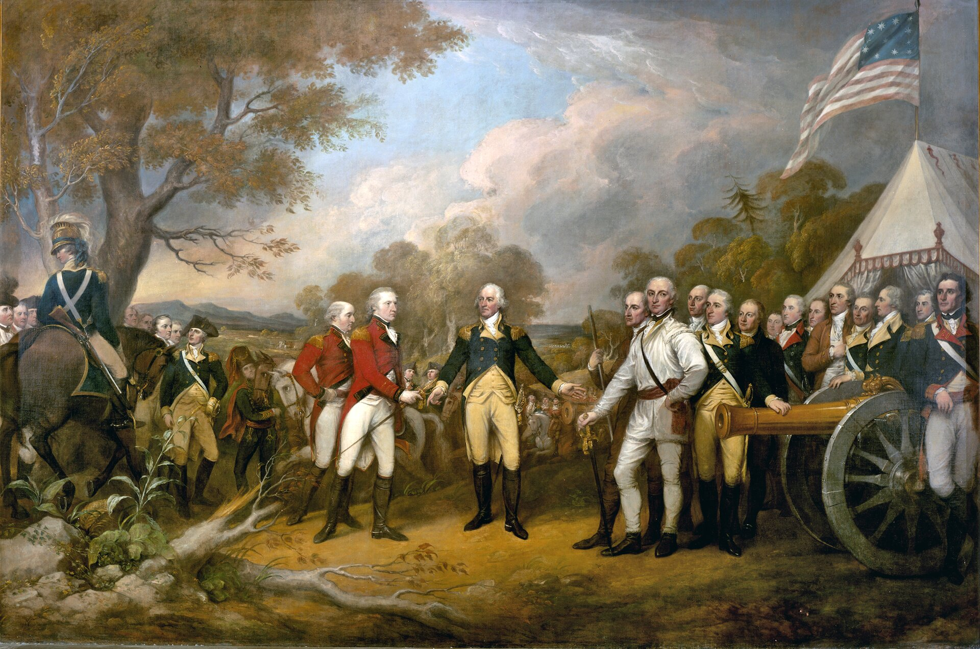 Scenakapitulacji brytyjskiego gen. Johna Burgoyne przed gen. Horatio Gates'em po bitwie pod Saratogą w1777 r.Obraz Johna Trumbulla (1756-1843) eksponowany na Kapitolu wWaszyngtonie powstał w1822 r. na zamówienie Kongresu. Cała seria zamóionych wtym czasie dzieł stanowić miały ilustrację wydarzeń historycznych związanych znowopowstałym państwem. Stąd malarz uważany jest za twórcę amerykańskiego malarstwa historycznego. Trumbull był podczas wojny oniepodległość m.in. sekretarzem J. Waszyngtona igen Horatio Gates'a, jednak zarmii wystąpił jeszcze przed namalowaną później przez siebie bitwą. Scenakapitulacji brytyjskiego gen. Johna Burgoyne przed gen. Horatio Gates'em po bitwie pod Saratogą w1777 r.Obraz Johna Trumbulla (1756-1843) eksponowany na Kapitolu wWaszyngtonie powstał w1822 r. na zamówienie Kongresu. Cała seria zamóionych wtym czasie dzieł stanowić miały ilustrację wydarzeń historycznych związanych znowopowstałym państwem. Stąd malarz uważany jest za twórcę amerykańskiego malarstwa historycznego. Trumbull był podczas wojny oniepodległość m.in. sekretarzem J. Waszyngtona igen Horatio Gates'a, jednak zarmii wystąpił jeszcze przed namalowaną później przez siebie bitwą. Źródło: John Trumbull, 1821, Olej na płótnie, United States Capitol, domena publiczna.