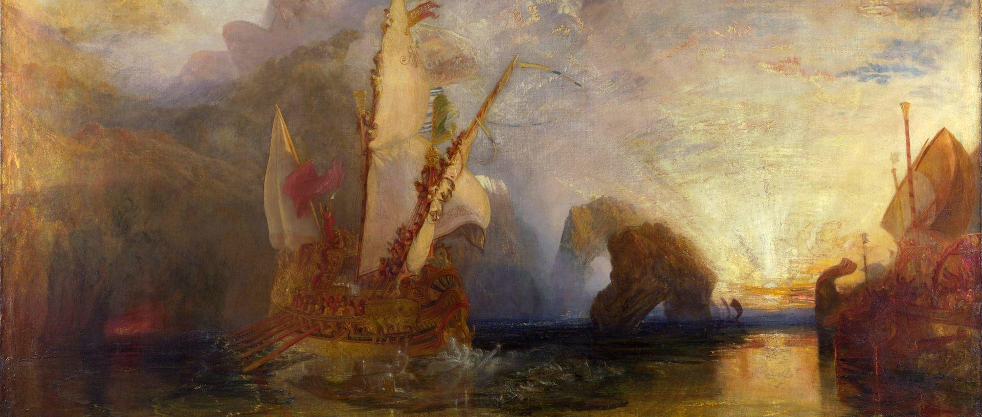 Odys drwi zPolifema Źródło: Joseph Mallord William Turner, Odys drwi zPolifema, 1829, olej na płótnie, National Gallery wLondynie, domena publiczna.