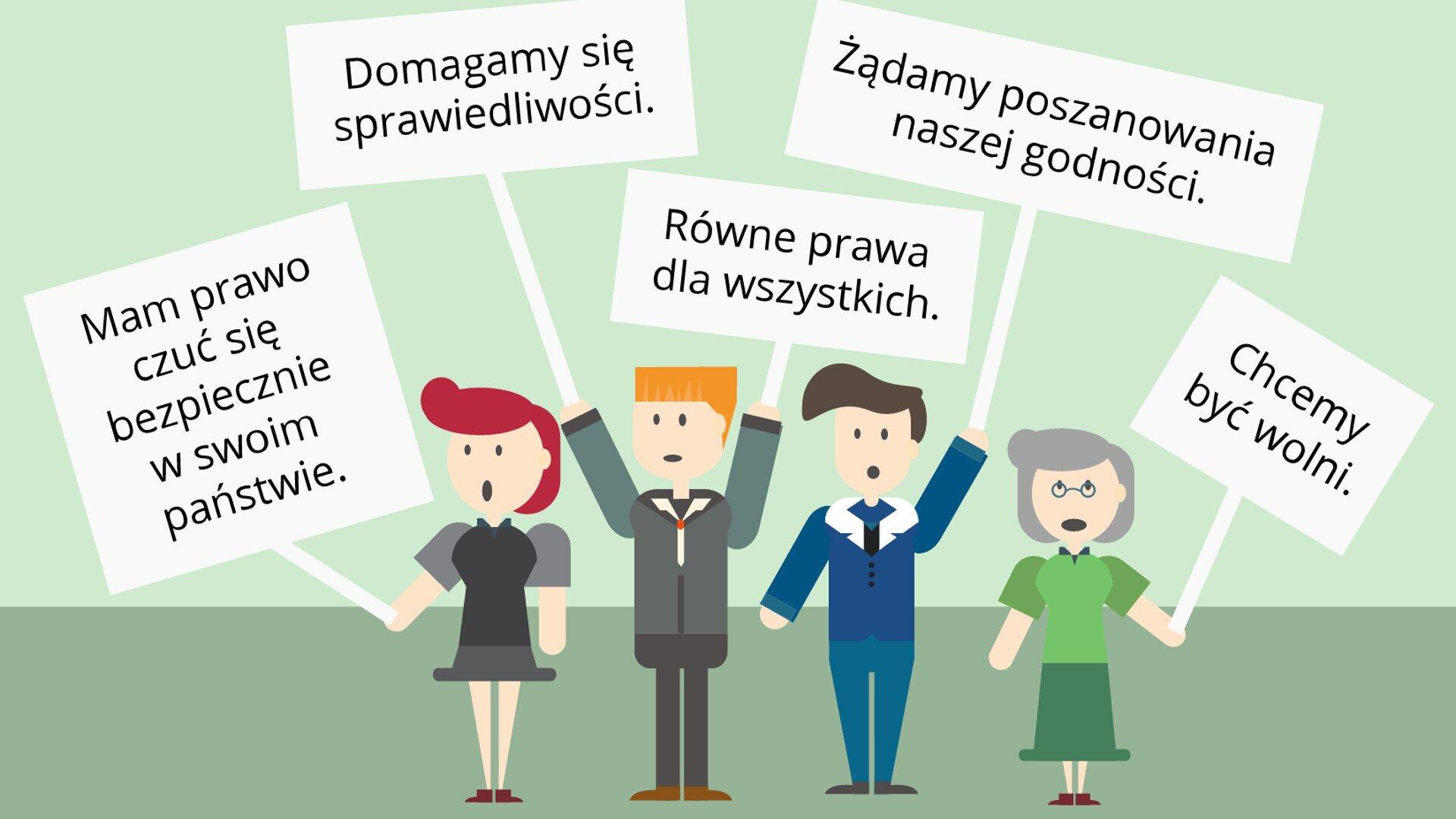Młodzi ludzie, jak na pikiecie Źródło: Contentplus.pl sp. zo.o., licencja: CC BY 3.0.