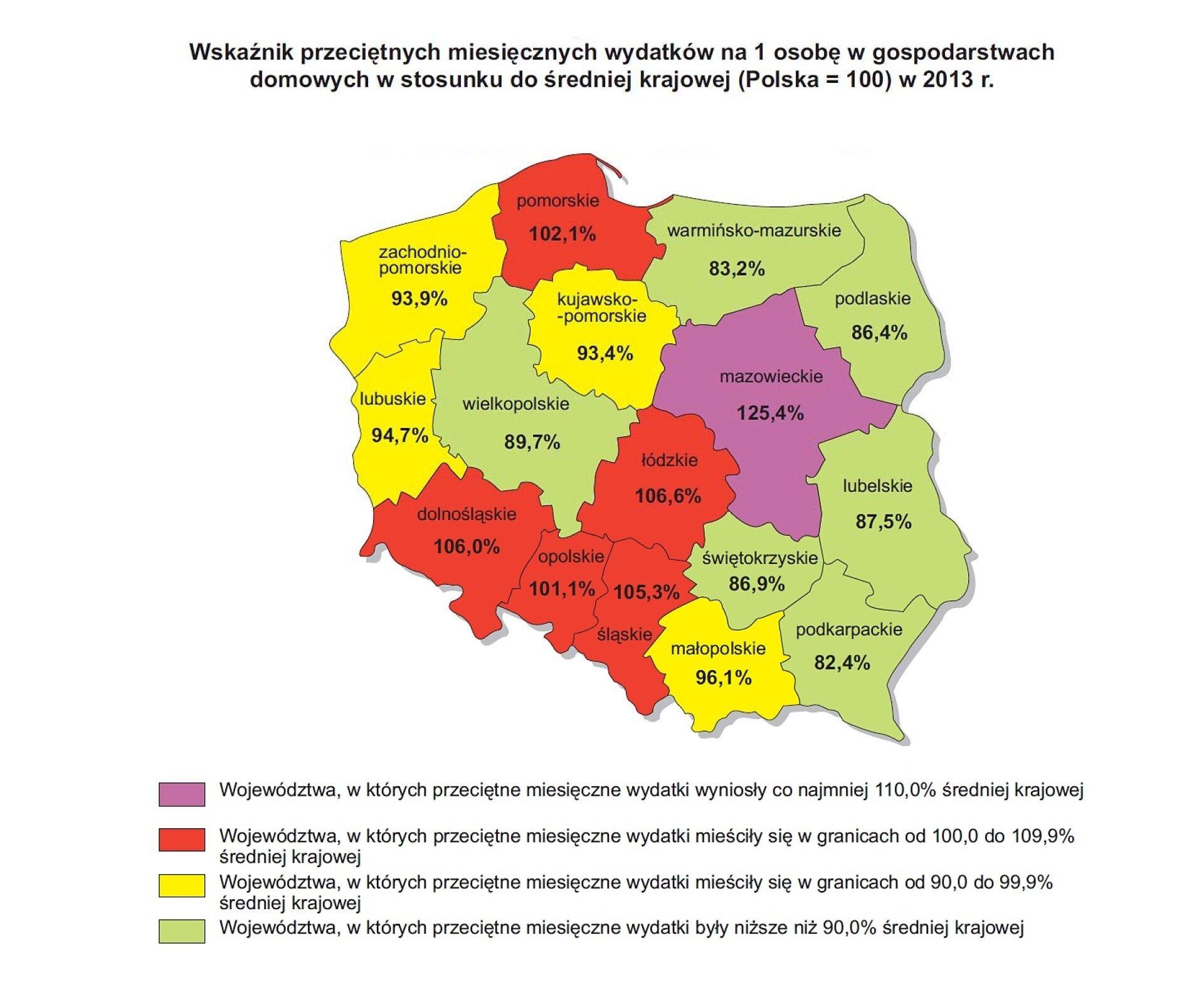 Mapa Polski przedstawiająca wskaźnik przeciętnych wydatków miesięcznych