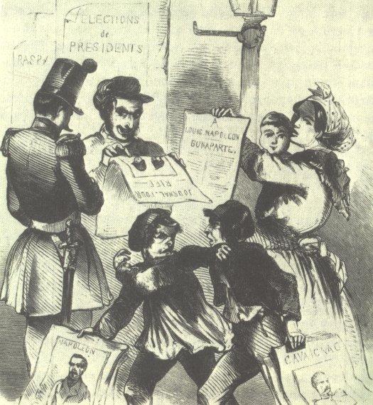 Rysunek satyryczny zepoki Źródło: Illustrierte Zeitung, Rysunek satyryczny zepoki, 1848, domena publiczna.
