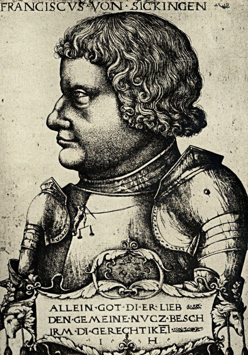 Franz von Sickingen – przywódca wojny rycerskiej Źródło: Hieronymus Hopfer, Franz von Sickingen – przywódca wojny rycerskiej, ok. 1520, akwaforta, domena publiczna.