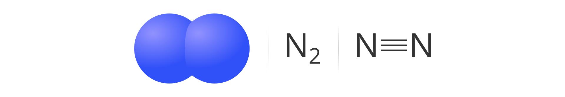 Pierwszy kadr galerii. Ilustracja przedstawia cząsteczkę azotu wpostaci graficznego modelu przedstawiającego połączone ze sobą dwie niebieskie kulki, sumarycznego wzoru N2 oraz wzoru strukturalnego, wktórym atomy azotu łączy wiązanie potrójne.
