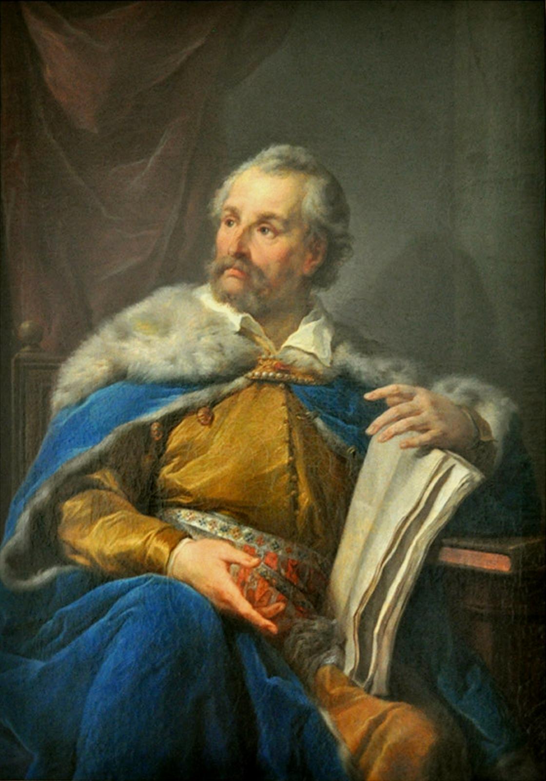 Portret Jana Zamoyskiego Jan Zamoyski na wyidealizowanym portrecie Bacciarellego, przedstawiony jako kanclerz, nie hetman, oczym ma świadczyć łagodny wyraz twarzy, zamyślenie iprezentacja księgi. Źródło: Marceli Bacciarelli, Portret Jana Zamoyskiego, między 1781 i1786, olej na płótnie, Muzeum Narodowe wWarszawie, domena publiczna.