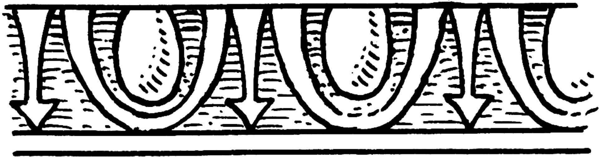 Ilustracja przedstawiająca ornament – kimation joński/wole oczy. Element dekoracyjny naszkicowany jest czarnym kolorem bez wypełenień. Ornament składa się zpowtarzających wzorów tj. strzałka wdół, okręg wokręgu. Wsumie wzór powtarza się tak jeszcze dwa razy.