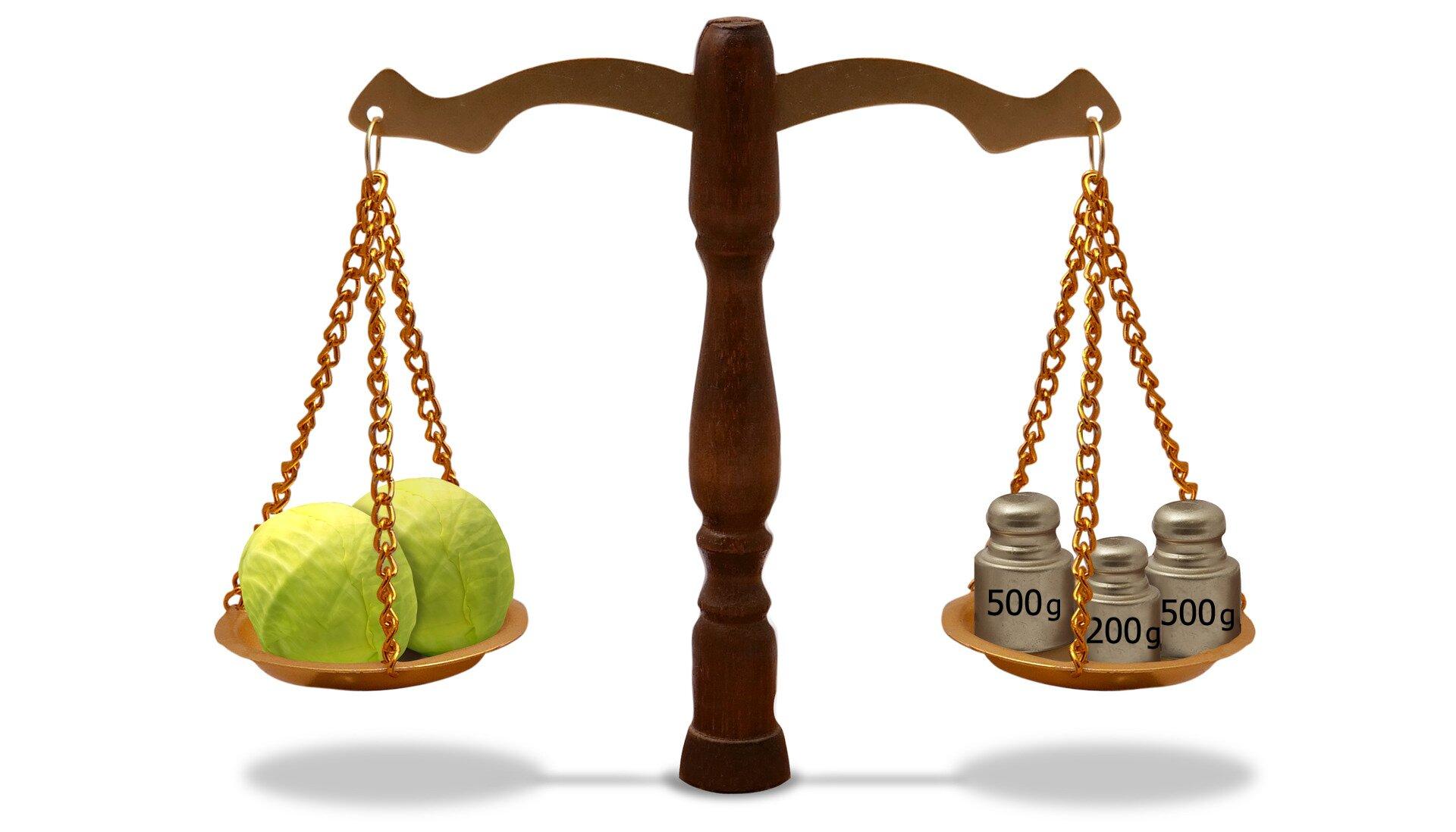 Rysunek wagi szalkowej. Na jednej szalce 2 kapusty, na drugiej trzy odważniki 500 g, 200 gi500 g.