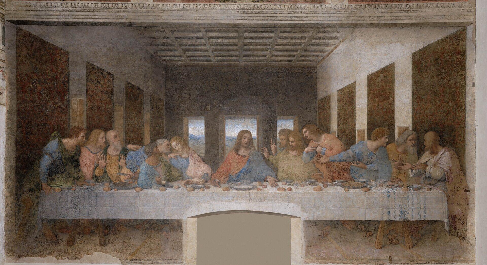 Ostatnia wieczerza Fresk wklasztorze wMediolanie wykonano na zlecenie księcia LudwikaSforzy. Zpowodu wilgoci malowidło było bardzo uszkodzone, ale po piętnastoletniej konserwacji przywrócono mu dawną świetność. Źródło: Leonardo da Vinci, Ostatnia wieczerza, 1495-1498, fresk, Santa Maria delle Grazie, domena publiczna.