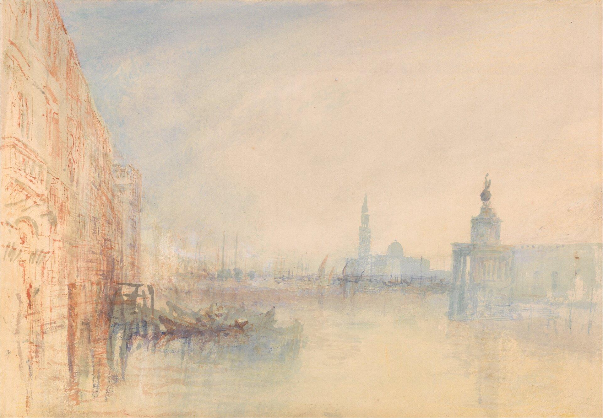 """Ilustracja przedstawia obraz Josepha Mallorda Williama Turnera """"Wenecja, Wielki kanał"""". Ukazuje widok na kanał zarchitektura po obu stronach oraz gondolami po lewej. Jest namalowany delikatnymi barwami wodcieniach żółcieni ijasnych błękitów. Kolory są rozmyte iblade."""
