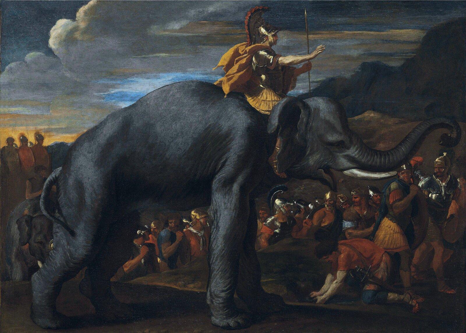 Kolorowy obraz przedstawiający żołnierzy idących do bitwy. Na pierwszym planie żołnierz wzłotym hełmie zpióropuszem, zwłócznią wdłoni jedzie na szarym słoniu.