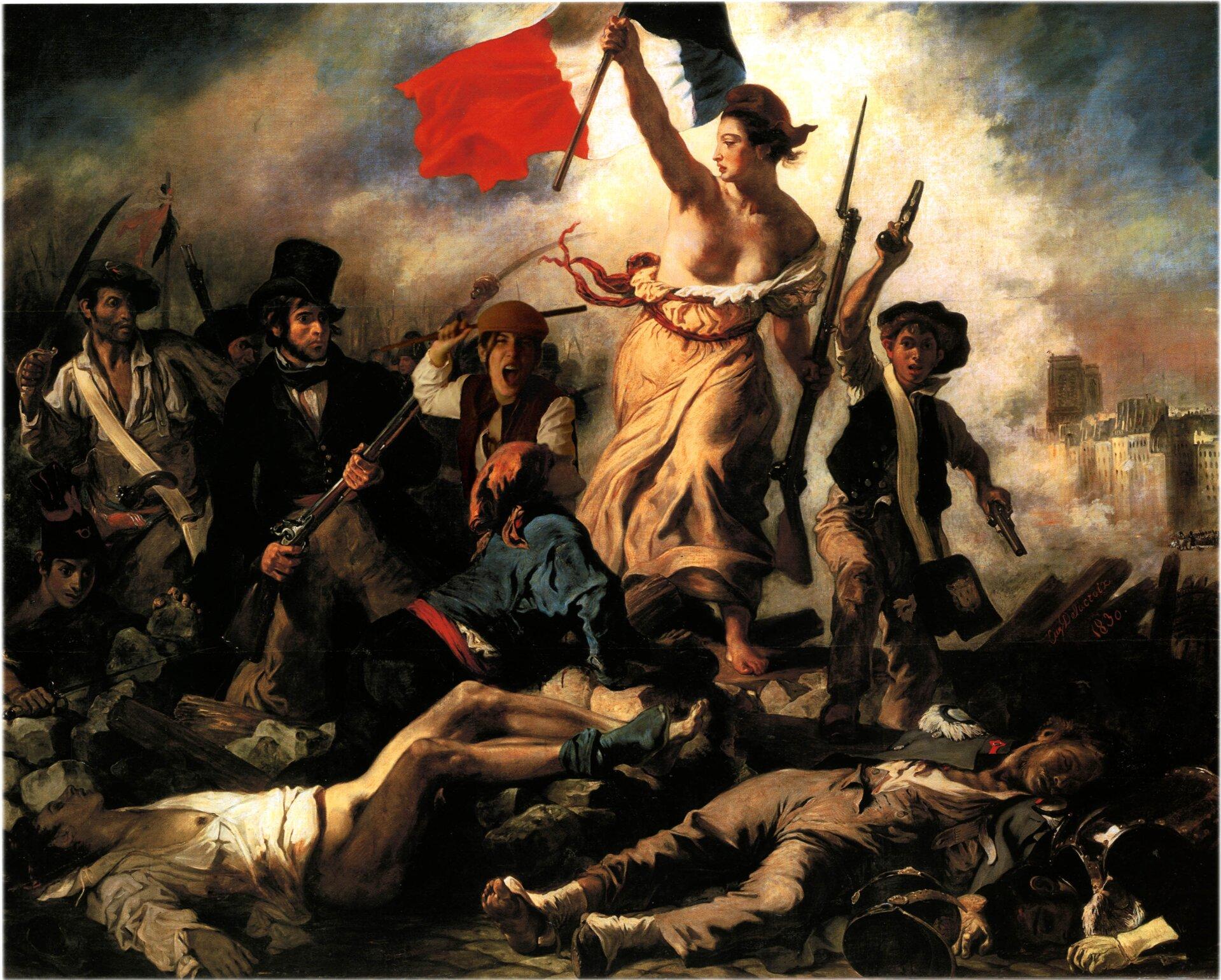 """Ilustracja przedstawia obraz Eugène'a Delacroixa """"Wolność wiodąca lud na barykady"""". Malarz ukazał symbolicznie wolność jako kobietę. Wrozdartej sukni, zflagą francuską wjednej dłoni ibagnetem wdrugiej prowadzi grupę ludzi. To żołnierze. Wspólnie wyruszają po zwycięstwo iwolność. Udołu obrazu namalowane martwe postaci. Woddali widoczne są budynki. Tło stanowi ciemne niebo ikłębiący się dookoła dym."""