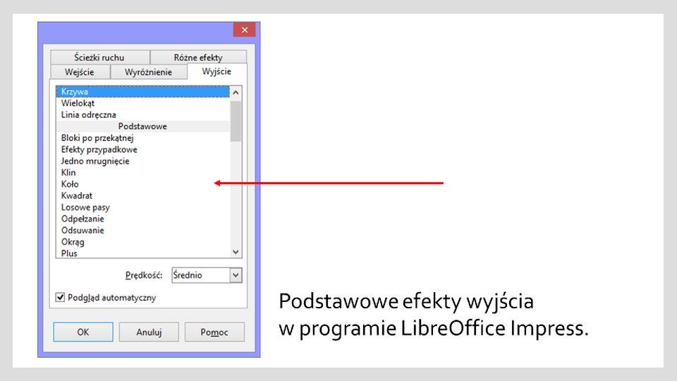 Slajd 2 galerii zrzutów okien zefektami wyróżnienia iwyjścia wprogramie LibreOffice Impress