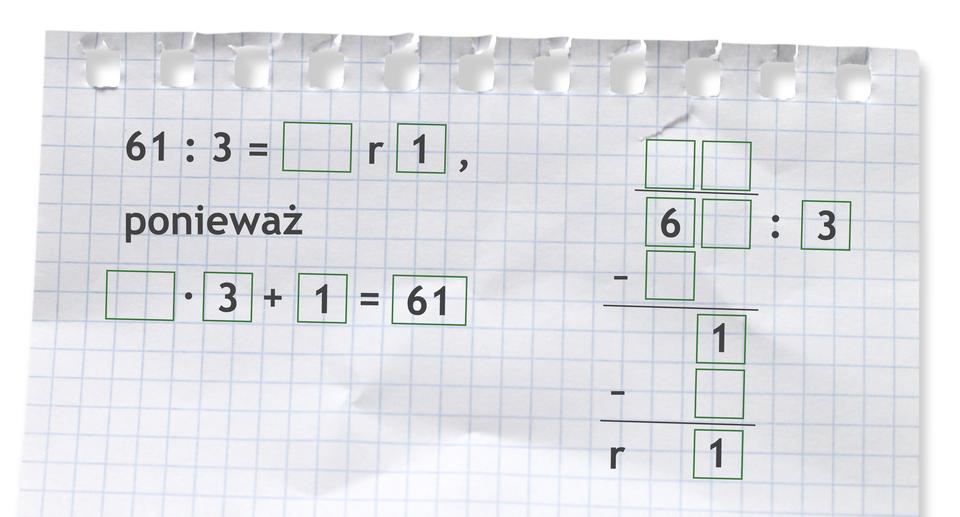 Miejsce do wykonania dzielenia: 61 dzielone przez 3.