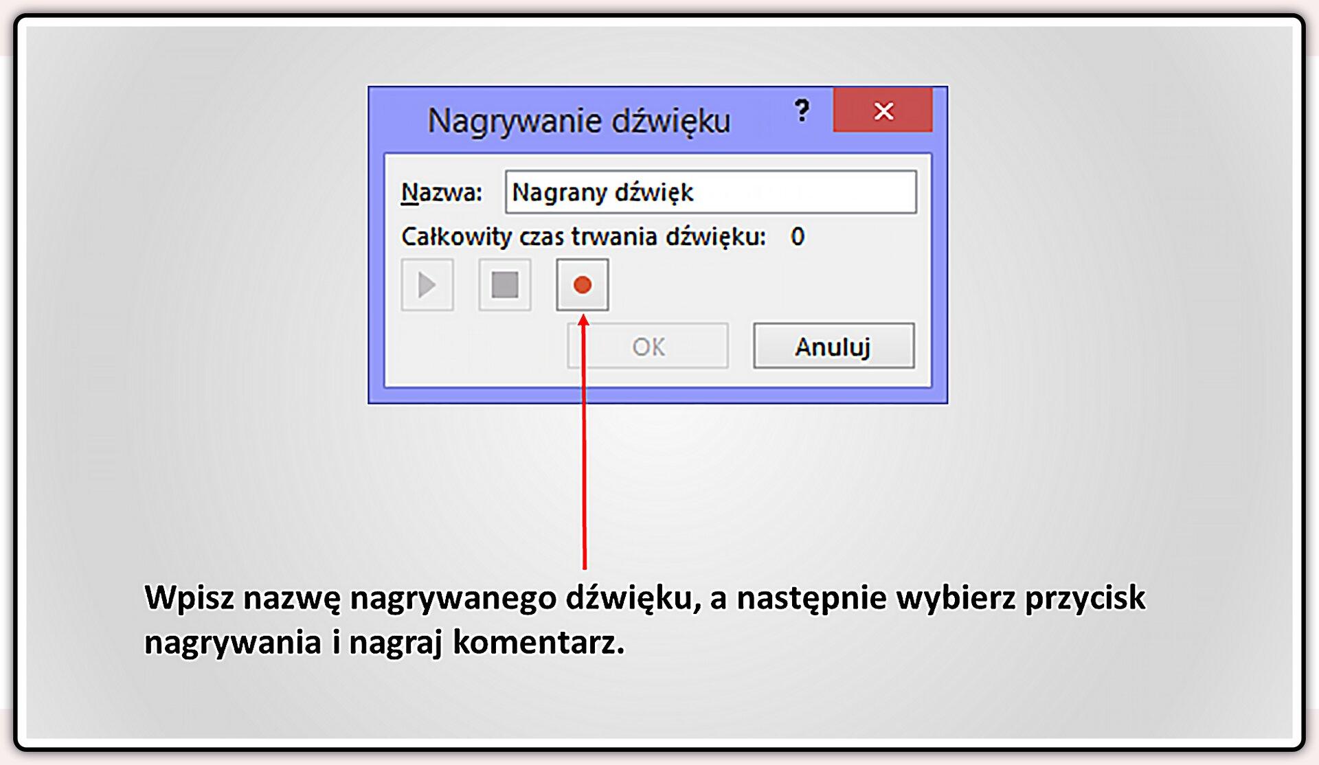 Slajd 3 galerii slajdów pokazu: Nagrywanie komentarza do prezentacji wprogramie MS PowerPoint
