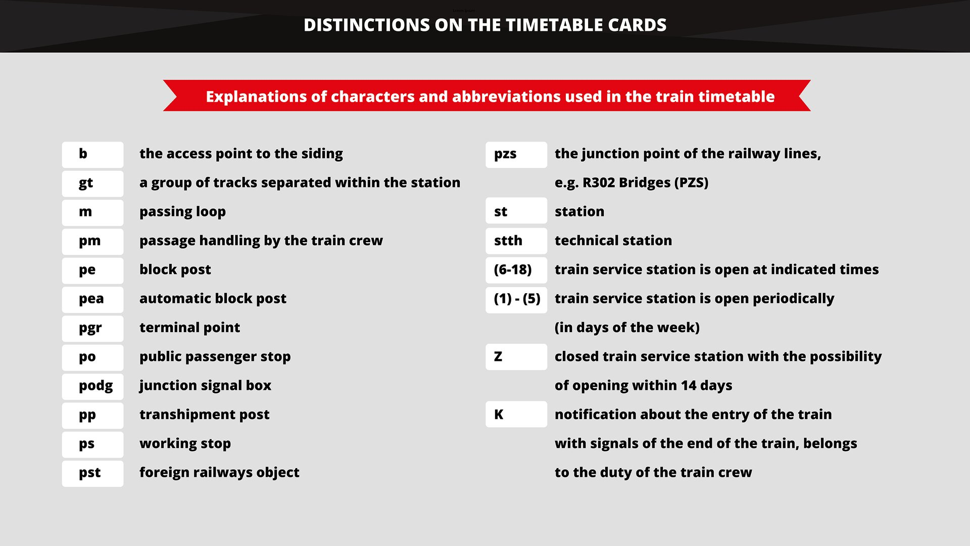 The graphics shows the selected distinctions used on the timetable cards in Poland. Grafika przedstawia opis wybranych wyróżników stosowanych wPolsce na kartach rozkładów jazdy.
