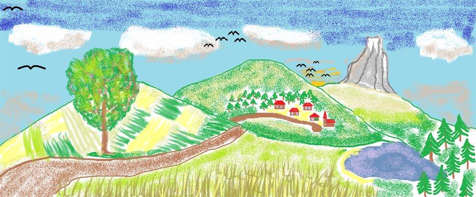 Ilustracja przedstawiająca góry iptaki