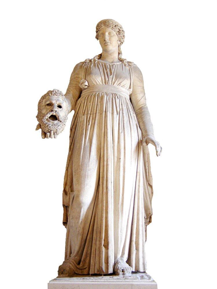 Melpomene Wyobrażenie Melpomene. Dziś rzeźba ta (być może pierwotnie znajdująca się wrzymskim teatrze Pompejach) jest eksponatem wmuzeum wLuwrze wParyżu. Źródło: Melpomene, Muzeum Luwru, licencja: CC BY-SA 2.5.