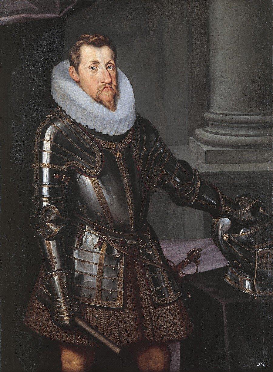 Portret Ferdynanda II, Świętego Cesarza Rzymskiego (1578-1637) Cesarz Ferdynand II Habsburgprzedstawiony jako wojownik. Król Czech wlatach 1617-1637 (z przerwą od roku1618, kiedy został zdetronizowany do roku 1620, gdy powrócił na tron po wygranej bitwie pod Białą Górą)iWęgier wlatach 1618-1637, Święty Cesarz Rzymski wlatach 1619-1637. Źródło: artysta nieznany (prawdopodobnie austriacki), Portret Ferdynanda II, Świętego Cesarza Rzymskiego (1578-1637), ok. 1614, olej na płótnie, Muzeum Historii Sztuki wWiedniu, domena publiczna.