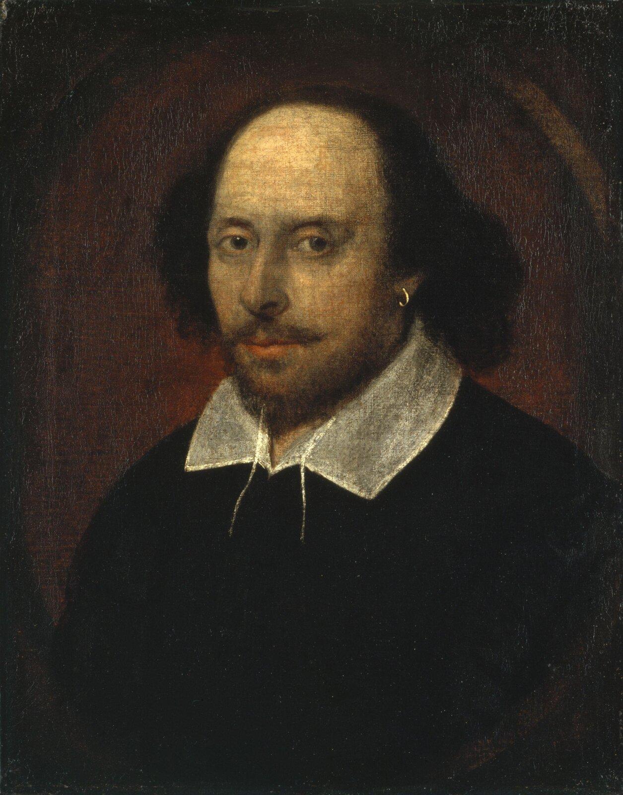 William Shakespeare Źródło: autor nieznany, William Shakespeare, ok. 1610, olej na płótnie, National Portrait Gallery wLondynie, domena publiczna.