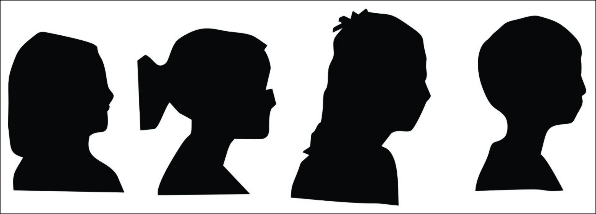 Ilustracja przedstawia przykłady czterech portretów sylwetkowych. Trzy znich należą najprawdopodobniej do dziewczynek, co sugerują fryzury - dłuższe włosy rozpuszczone lub upięte wkucyk. Czwarty portret należy prawdopodobnie do chłopca okrótkich włosach.