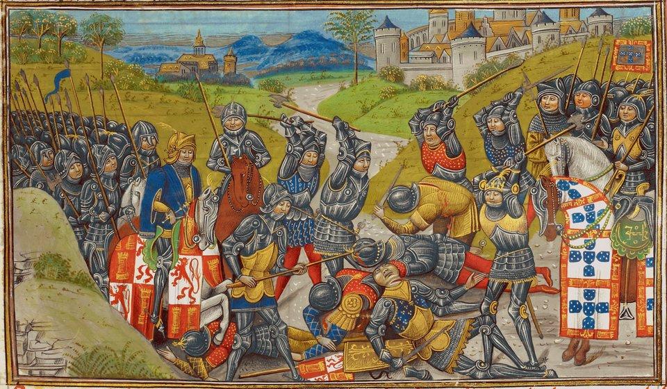 Bitwa pod Aljubarrota Bitwa pod Aljubarrota Źródło: Jean d'Wavrin, Bitwa pod Aljubarrota, licencja: CC 0.