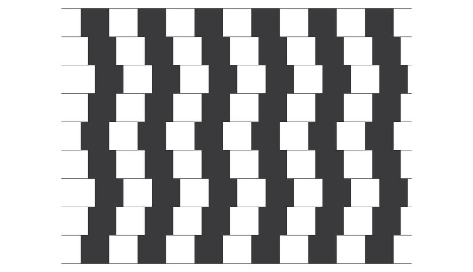 Wgalerii znajdują się przykłady obrazów, wprowadzających mózg wbłąd. Na ilustracji znajdują się naprzemiennie czworokąty czarne ibiałe, przesunięte względem siebie. Czy linie poziome między nimi są równoległe?