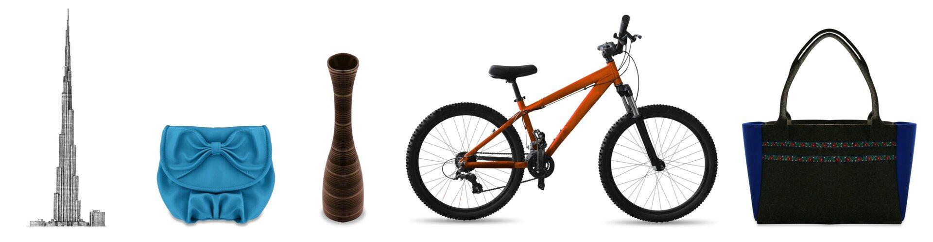 Rysunki pewnej budowli, torebki, wazonu, roweru itorby.