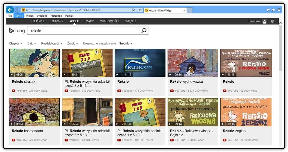 Zrzut okna wyszukiwarki Bing zwyszukanymi filmami