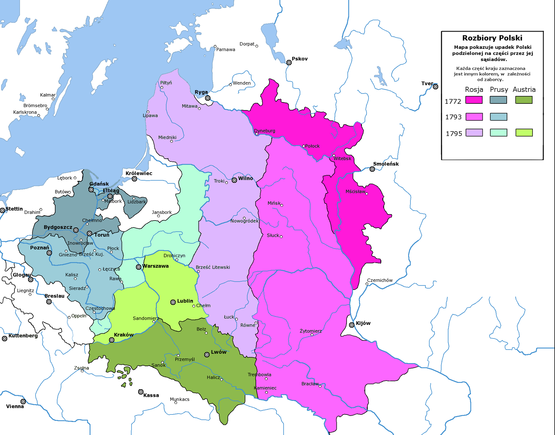 Rozbiory Polski Źródło: Halibutt, Rozbiory Polski, licencja: CC BY-SA 3.0.