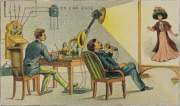 Francja wroku 2000. Video-telefon Źródło: Villemard, Francja wroku 2000. Video-telefon, 1910, domena publiczna.