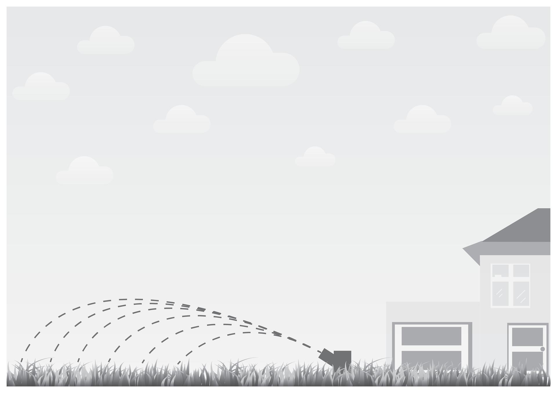 Siódma ilustracja wgalerii. Przedstawia czarno biały symboliczny rysunek trawnika podlewanego za pomocą specjalnego zraszacza podczas upałów. Wtle po prawej stronie fragment domu jednorodzinnego zgarażem. Niebo pogodne.